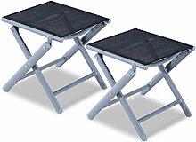 Outsunny 2Pcs Aluminium Textilene Garden Tragbare Folding Travel Stuhl Hocker Fußstütze Outdoor Terrasse Camping Wandern Angeln Sitz