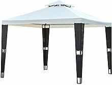 Outsunny 3m × 3m Himmel Outdoor Pavillon wasserdicht Shade Garden Shelter Heavy Duty Hochzeit Zelt W/Zwei Etagen Dach Rattan Säulen Airvent–Zubehör: 8Bodenspieß