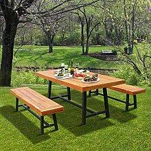 Outsunny Garten Holz 3-teilig, Acacia Picknick-Tisch und 2Bänke Essen Bier Trestle Tisch Garten, Outdoor-Möbel