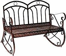 Outsunny® Gartenbank Schaukelbank Parkbank Sitzbank Bank 2-Sitzer Metall (Modell3/ Bronze-Rot)
