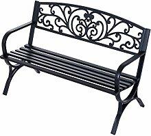 Outsunny® Gartenbank Sitzbank Bank Metall Gartenmöbel 2-Sitzer Schwarz 2 Module (Modell 1)