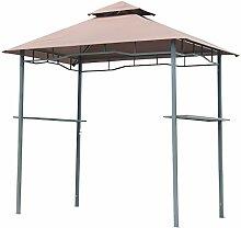 Outsunny Grillpavillon Gartenzelt Grill Pavillon Balkonpavillon Doppeldach 245x150x255cm