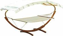Outsunny Hängematte mit Gestell Gartenliege Sonnenliege inkl. Dach 180kg, Lärchenholz+Baumwollstoff