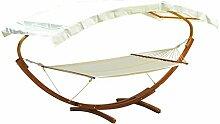 Outsunny® Hängematte mit Gestell Gartenliege Sonnenliege inkl. Dach 180kg, Lärchenholz+Baumwollstoff