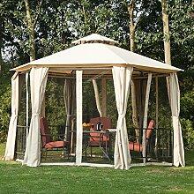 Outsunny Hexagon Pavillon Vordach-Zelt für den Außenbereich, Garten, Terrasse & Dach mit 2Etagen, Panel, Beige