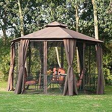 Outsunny Hexagon Pavillon Vordach-Zelt für den Außenbereich, Garten, Terrasse & Dach mit 2Etagen, Panel, braun