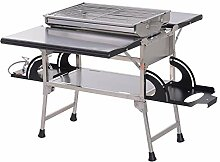 Outsunny Klappgrill Standgrill mit Gasherd tragbar