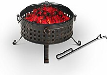 Outsunny Metall rund Outdoor Feuerstelle Log Holz