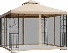 Outsunny Metallpavillon mit Moskitonetz beige 300
