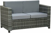 Outsunny® Poly-Rattan Sofa mit Kissen 2-Sitzer