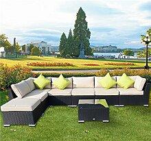 Outsunny Rattansofa für den Garten Aluminium Outdoor Terrasse Set Rattan Sofa-Set-Sitzer schwarz Fire beständig Schwamm + Tisch Kissen bereits montier
