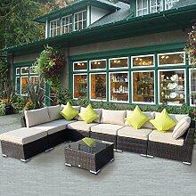 Outsunny Rattansofa für den Garten Aluminium Outdoor Terrasse Set Geflecht Sofa-Set-Sitzer Fire beständig Schwamm braun + Tisch Kissen bereits montier