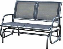 Outsunny Sitzbank, Metall, grau, 123 x 70 x 87 cm, 01-0893