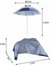 Outsunny UV-Schutz Angeln Strand Regenschirm Brolly Shelter/W Seite Panel Zelt Blau