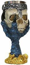 Ouvin 3D-Totenkopf-Weinkelch, mit Edelstahl,