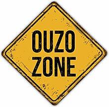 Ouzo Zone Grunge Warning Emblem - Self-Adhesive
