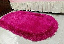 Oval Bettvorleger Schlafzimmerteppich Teppich Wohnzimmer Couchtisch , pink , 80*160