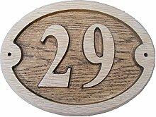 Oval Eiche natur Holz House Tür Zahl 17,8x
