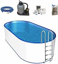 Oval-Pool-Set, Größe & Tiefe wählbar, 0,6mm Stahlwand, 0,6mm Poolfolie mit Einhängebiese, Edelstahl-Tiefbeckenleiter, Sandfilteranlage mit 6-Wege-Ventil, Filtersand, Skimmer- und Schlauch-Set-525 x 320 x 150cm