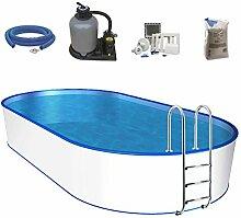 Oval-Pool-Set, Größe & Tiefe wählbar, 0,6mm Stahlwand, 0,6mm Poolfolie mit Einhängebiese, Edelstahl-Tiefbeckenleiter, Sandfilteranlage mit 6-Wege-Ventil, Filtersand, Skimmer- und Schlauch-Set-700 x 350 x 120cm