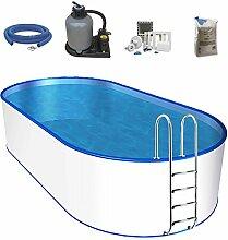 Oval-Pool-Set, Größe & Tiefe wählbar, 0,6mm Stahlwand, 0,6mm Poolfolie mit Einhängebiese, Edelstahl-Tiefbeckenleiter, Sandfilteranlage mit 6-Wege-Ventil, Filtersand, Skimmer- und Schlauch-Set-700 x 350 x 150cm