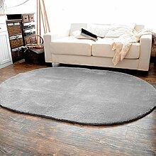 Oval Seidenhaar Teppich Wohnzimmer Schlafzimmer Bettvorleger Schwimmende Teppich Küche Wasseraufnahme Teppich , grey , 0.4*0.6 meters