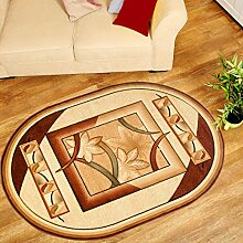 Oval Teppich 3D in Creme - Konturenschnitt Teppich