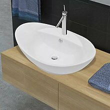 Oval Waschbecken weiß glänzend mit einem Loch,
