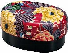 Ovale Bento-Box mit Blumenmuster Handfaecher, rosa