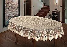 Ovale Tischdecke, Spitze, schwer, 140 x 241 cm,