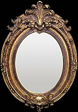 Ovaler Barock Wandspiegel Gold Rot Akanthus Blatt Motive Retro Vintage Spiegel