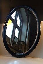 Ovaler Dänischer Wandspiegel aus Schwarzem Holz,