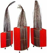 Ovales 3-er Stehlampenset Carla im Ethno-Design in