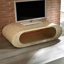 Ovales Lowboard in Beige Stein