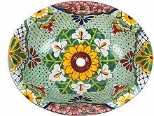 ovales XL-Waschbecken, Motiv: Flores Talavera. Keramik, handbemalt, als Gästewaschbecken, Handwaschbecken. Maße 53x45cm incl. Universalventil