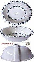 ovales XL-Waschbecken, Motiv: Guia Violets. Keramik, handbemalt, als Gästewaschbecken, Handwaschbecken. Maße 53x43,5cm incl. Universalventil