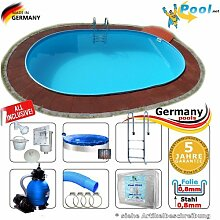 Ovalpool 6,15 x 3,00 x 1,35 m Set Stahlwandpool Swimmingpool Ovalbecken 6,15 x 3,0 x 1,35 Schwimmbecken Stahlwandbecken Sets Fertigpool oval Pool Einbaupool Pools Gartenpool Einbaubecken Komplettse