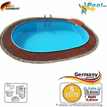 Ovalpool 7,37 x 3,60 x 1,35 Stahlwandpool Swimmingpool Ovalbecken 7,37 x 3,6 x 1,35 Schwimmbecken Stahlwandbecken Fertigpool oval Pool Einbaupool Pools Gartenpool Einbaubecken Poolbecken Se