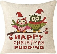 overmal Christmas Serie Sofa Bett Home Dekoration Abschnitt Kissenbezüge Urlaub Weihnachts, Leinen-Mischgewebe, C, 45cm*45cm/17.7*17.7