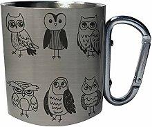 owl set Edelstahl Karabiner Reisebecher 11oz