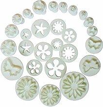 Oxforder Generic Kuchen Decration Werkzeug Set Fondant Cake Cutter Sugarcraft Icing Dekorieren Blume Modellier Werkzeuge (10Sets (33pcs))