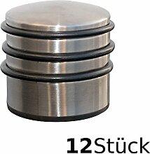 Oxid7® Türstopper hoch ca. 7x8cm Edelstahl- Türpuffer mit ca. 1,2kg für schwere Türen - Edelstahl-Design Tür Stopper Halter Puffer - Set 12 Stück