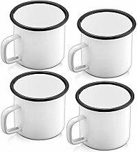 P&P CHEF Weiße Emaille-Kaffeetassen,