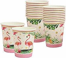 P Prettyia 20er-Set Flamingo Einwegbecher Pappe