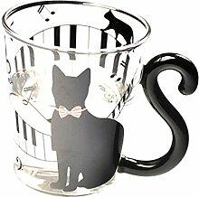 P Prettyia Katze Form Glas Kaffeebecher