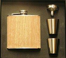 P R Braten & Co Holz Flachmann-Set, braun, 6oz