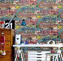 P S Graffiti Street art Kinder Jugend Tapete, Ziegelsteinwand-Tag
