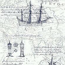 P&S Vintage Atlas Karte Textur Tapete - Blau Weiss 42110-40