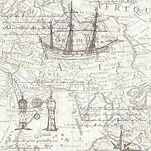 P&S Vintage Atlas Karte Textur Tapete - Neutral 42110-30