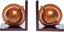 Paar Buchstützen Globus aus Holz Buchstütze